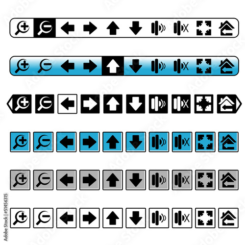 Vector navigation buttons, simple icons