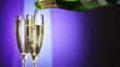 Champagne pouring in glass  with festive background