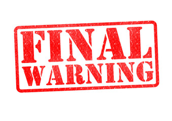 FINAL WARNING Rubber Stamp