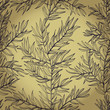 Seamless vintage hand drawn background with rosemary herb. Eps10