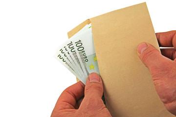 euro notes envelope hands