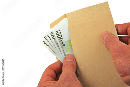 euro notes envelope hands
