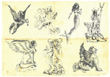 Collection of mythical characters - Greek myths poster
