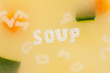 Alphabet soup drawing the word Soup