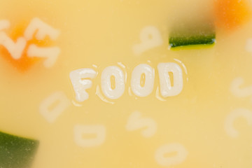 Alphabet soup drawing the word Food
