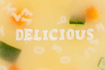 Alphabet soup drawing the word Delicious