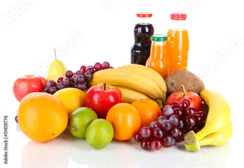 Different fruits and juice isolated on white
