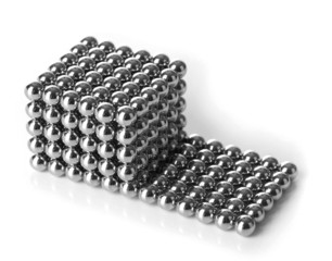 Metal balls of neocube (toy), isolated on white