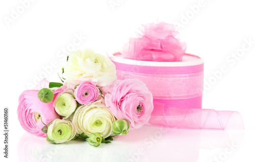 Ranunculus (persian buttercups) and gift, isolated on white