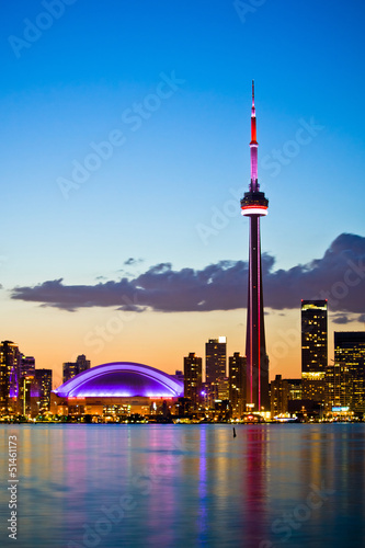 Toronto cityscape with beautiful sunset skyline as background