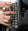 typing on vintage typewriter