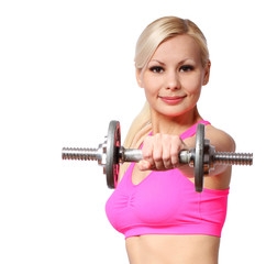 fitness girl with dumbbell. happy blonde isolated