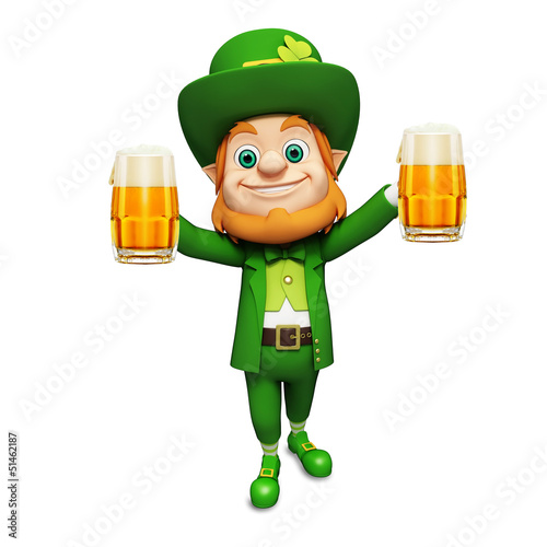 Leprechaun for st patrick's day with two beer glasses