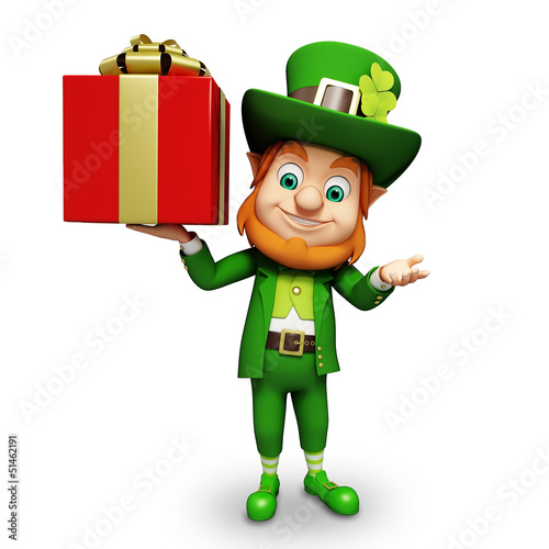Leprechaun for st patrick's day holding red colored gift box