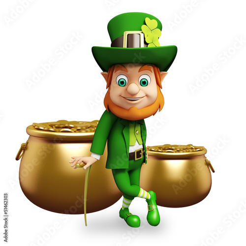 Leprechaun for st patrick's day with coins pot