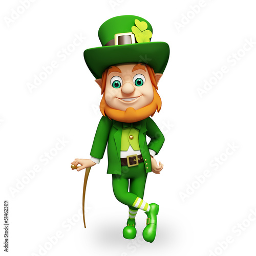 Leprechaun for st patrick's day with stick