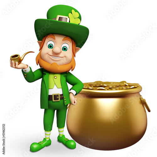 Leprechaun for st patrick's day with golden pots