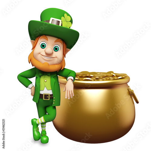 Leprechaun for st patrick's day with coins golden pot