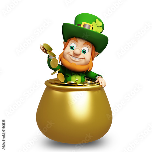 Leprechaun for st patrick's day inside golden pot