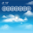 Weather widget template and blue sunny sky theme background
