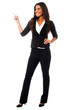 Young businesswoman pointing away