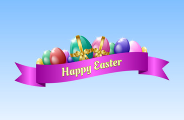 Happy Easter greeting card template