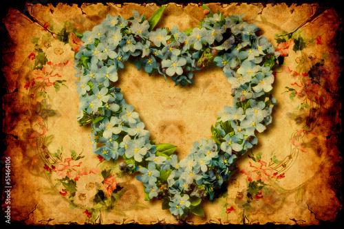 In de dag Vintage Poster Retroplakat - Herz aus Blumen