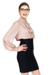 beautiful happy woman in glasses and  shirt with black skirt