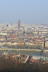 France, Lyon, city panoramic view in hiver