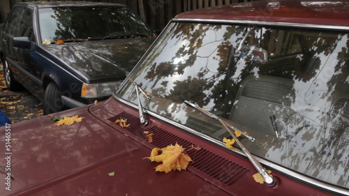 Old red car. Autumn leaves reflected in the windshield.