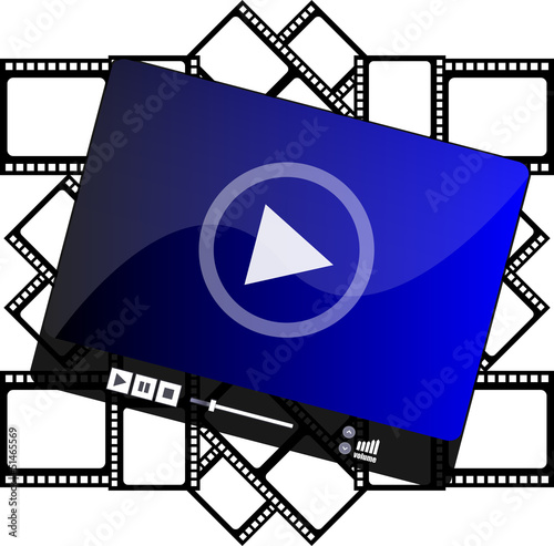 media player on cinema film strips