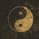 Fototapety Yin yang grunge icon. With stained texture, vector