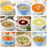collage of nine different colorful soups