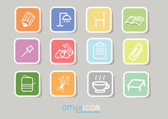 Square file labels icon set