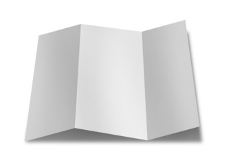 collection of various blank folded leaflet white paper on white