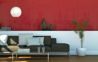 Stoffsofa vor roter Wand
