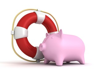 Piggy bank with Lifebuoy Savings Money Help Concept