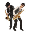 Woman and men Saxophonist