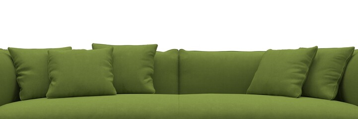 Sofa made of green fabric closeup panorama