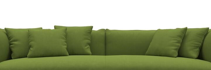 Sofa made of green fabric closeup panorama
