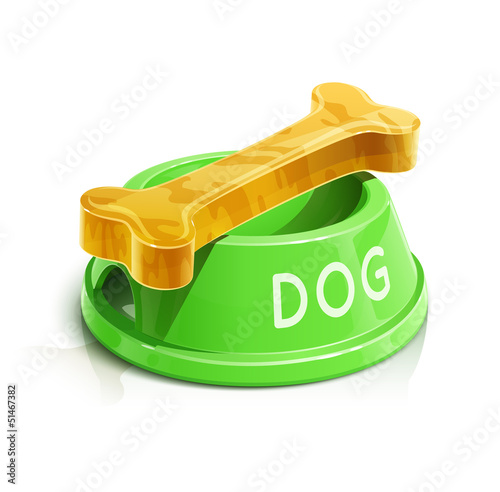 bowl with bone for dog vector illustration isolated on white
