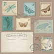 Vintage Postcard and Postage Stamps with Butterflies