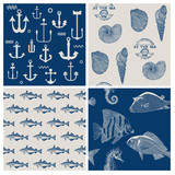 Fish and Marine Background Set - for scrapbook or design - in ve