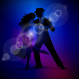Fototapety Vector design with couple dancing tango on dark background.