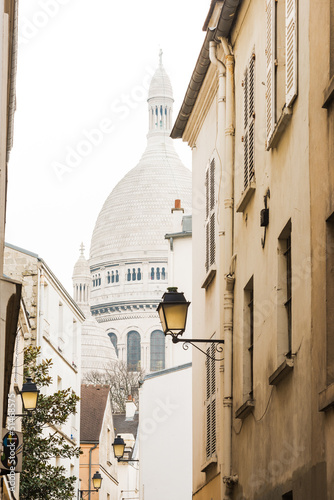 Basilica of the Sacred Heart from one of the Montmartre streets