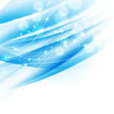 abstract wavy blue background with sparkles