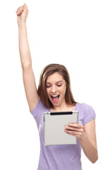 Excited woman with digital tablet