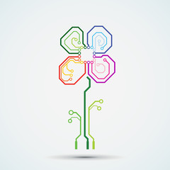 Vector tech logo. Circuit board flower