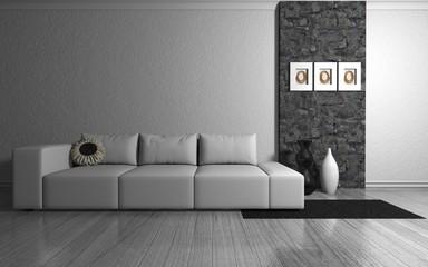 Wohndesign - Sofa weiß neben Naturstein Mauer