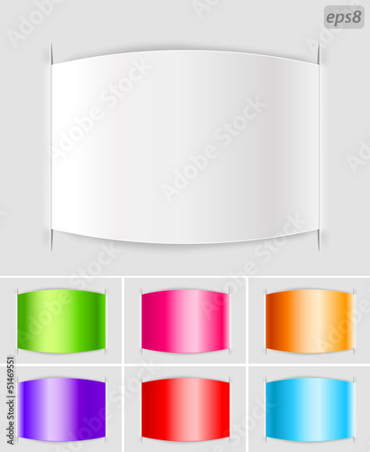 set of blank paper labels with color variations